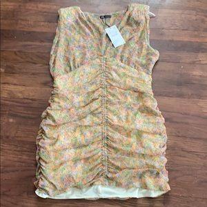 Zara shoulder pad floral dress